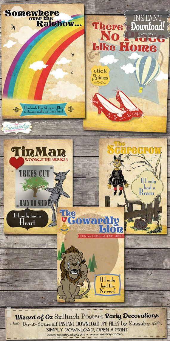 Its a set of Instant Download 5 Printable Wizard of Oz Posters ~ Perfect for party decorations!    See more in our Etsy shop: sassaby.etsy.com    ➤
