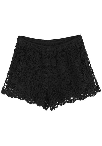 Floral Crochet Shorts - Black