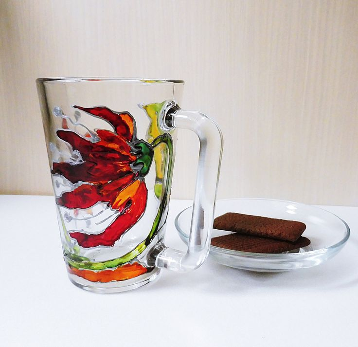 Painted Glass / Red Flower Mug / Abstract Flower Mug / Hand Painted Glass Mug / Hand Painted Coffee Mug / Hand Painted Mug / Painted Tea Cup by MariGlassAtelier on Etsy