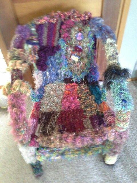 Yarn bombed cane chair by Kath Cole, 2016