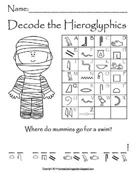 Image Result For Easy Hieroglyphic Code Worksheets