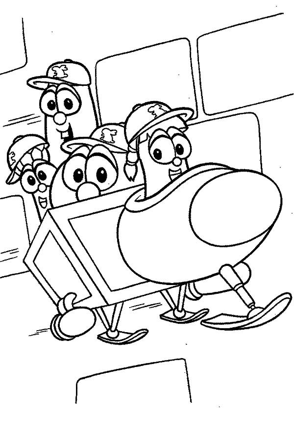 Larry Boy And Friends On Snow Cart Coloring Pages ...