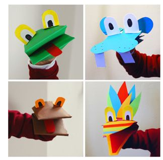 Hand Puppets - simple (one sheet of construction paper + scraps) and creative