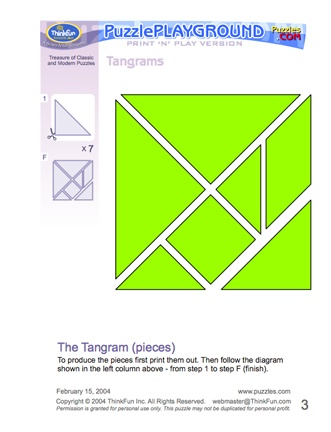 """Here's a """"Print 'N' Play"""" set of tangrams with several puzzles and solutions."""