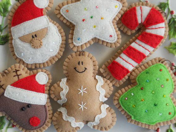 Ginger Felt Christmas Ornaments -  Felt Christmas Decorations - Felt Christmas Cookies