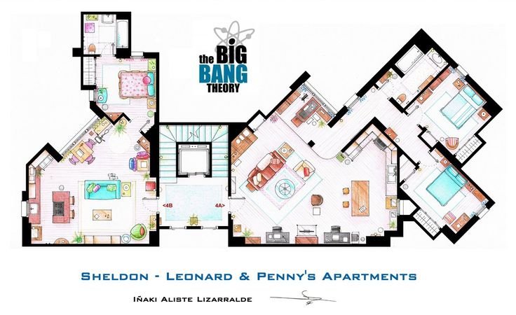 Sheldon, Leonard and Penny Apartments from The Big Bang Theory (by ~nikneuk)