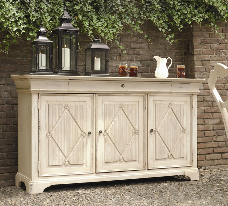 Exceptional Antiqued White Sideboard Buffet