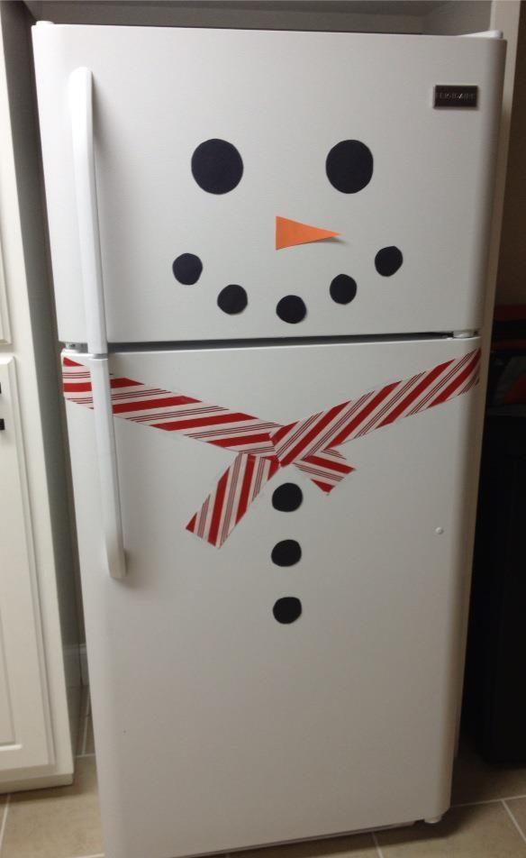 Christmas decor Snowman Fridge... How cute is this? LIKE WHAT?!