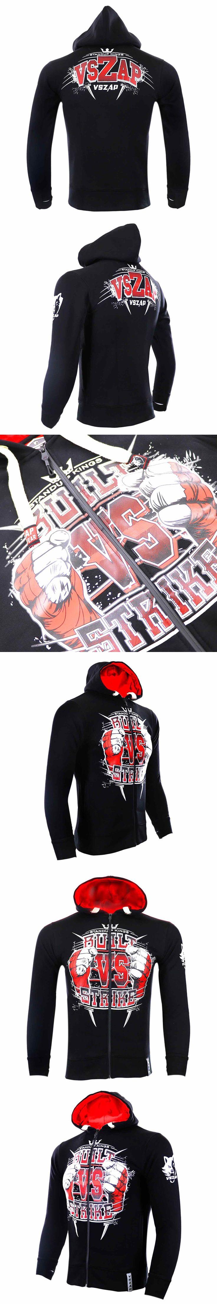 VSZAP MMA long sleeve hoodies Wolf head boxer Keep warm Breathable Sweatshirts Men Sporting jackets hip hop