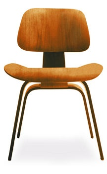 Eames® Molded Plywood Dining Chair in Natural Cherry Wood Leg by Herman Miller