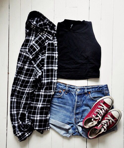 Black tank top, denim shorts, flannel shirt with burgundy coverse