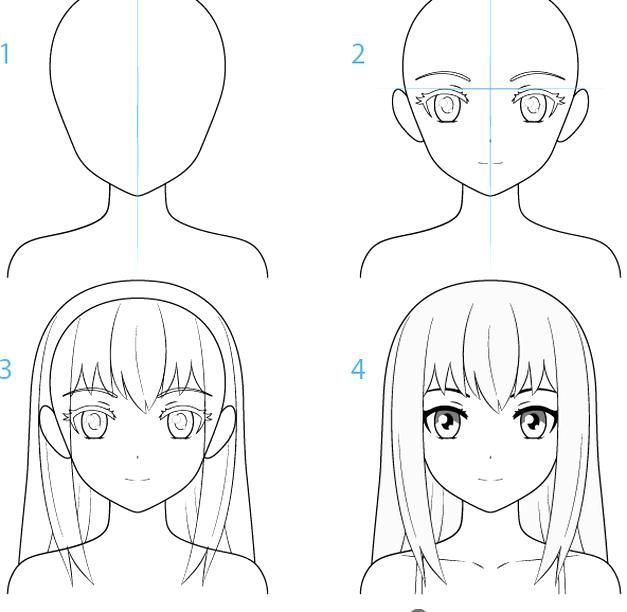 Female Anime Character Face Drawing Step By Step In 2020 Female Anime Face Drawing Step By Step Drawing