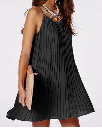 Del espagueti de la correa del vestido plisado color sólido para las mujeres