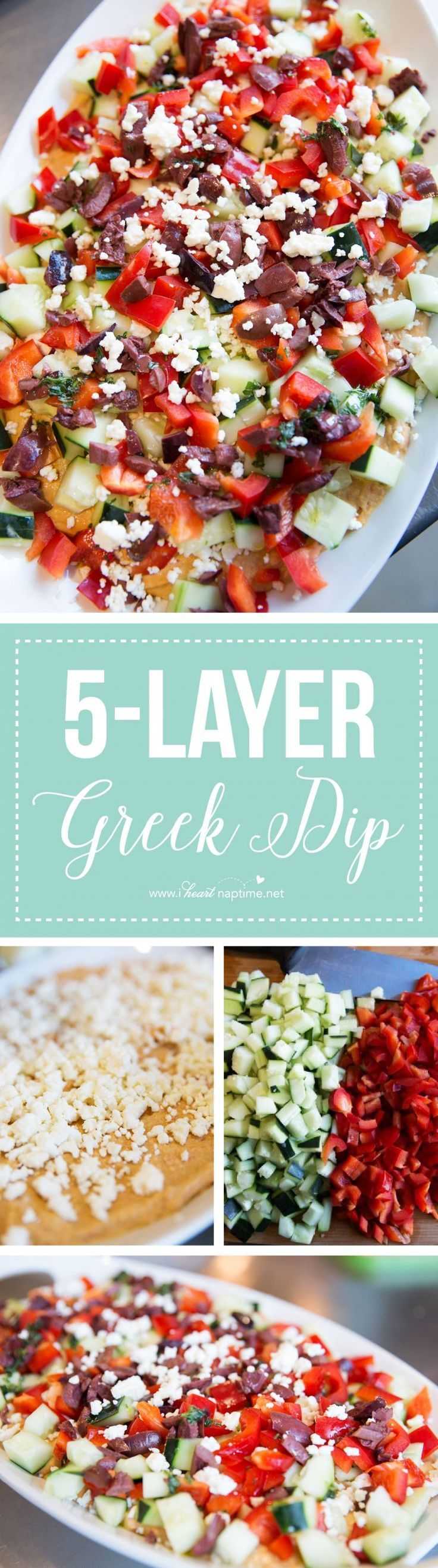 This 5-layer Greek Dip is the ultimate appetizer and so easy to make. It's light and tastes great with fresh vegetables, naan bread or pita chips!