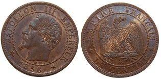 1 centime 1856 Napoléon III tête nue