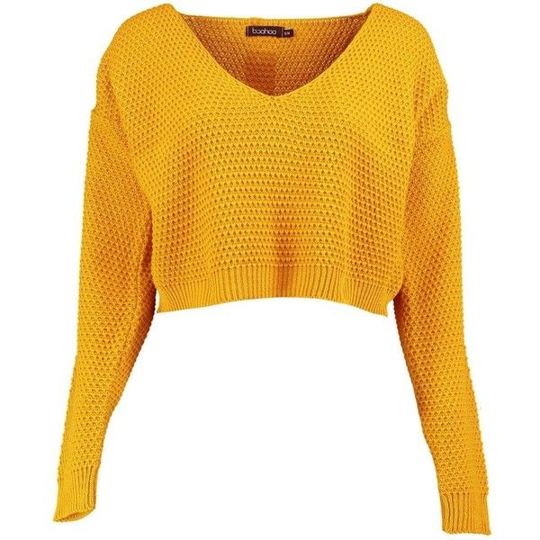 Boohoo Annabella V Neck Crop Knit Jumper ($10) ❤ liked on Polyvore featuring tops, sweaters, knit sweater, v-neck sweater, cropped knit sweater, yellow crop top and yellow top