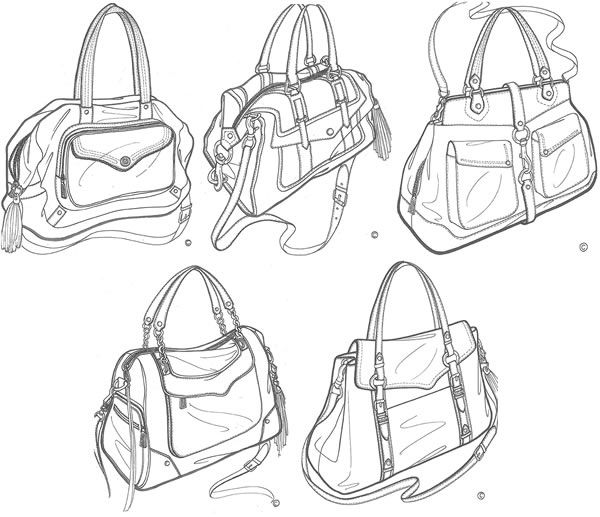 sketches from PurseForum + Rebecca Minkoff design collaboration. I want to be a handbag designer when I grow up.
