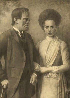frankenstein monster movie vintage love romance horror