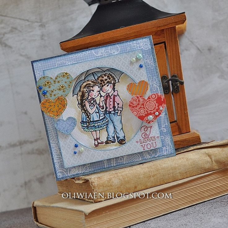 ScrapBerry's: a  'shadowbox-like'  card with a stamp Sweetheart – Beautiful - by Maja Nowak