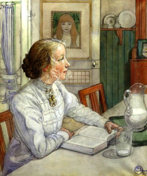 Carl Larsson - My Eldest Daughter Reading -1904 painting - Sweden