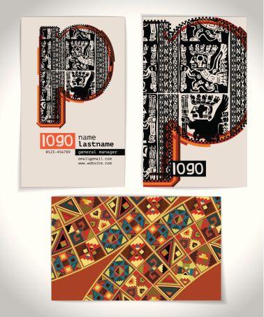 Antigo cartão empresarial design Letra p - ilustração de arte em vetor