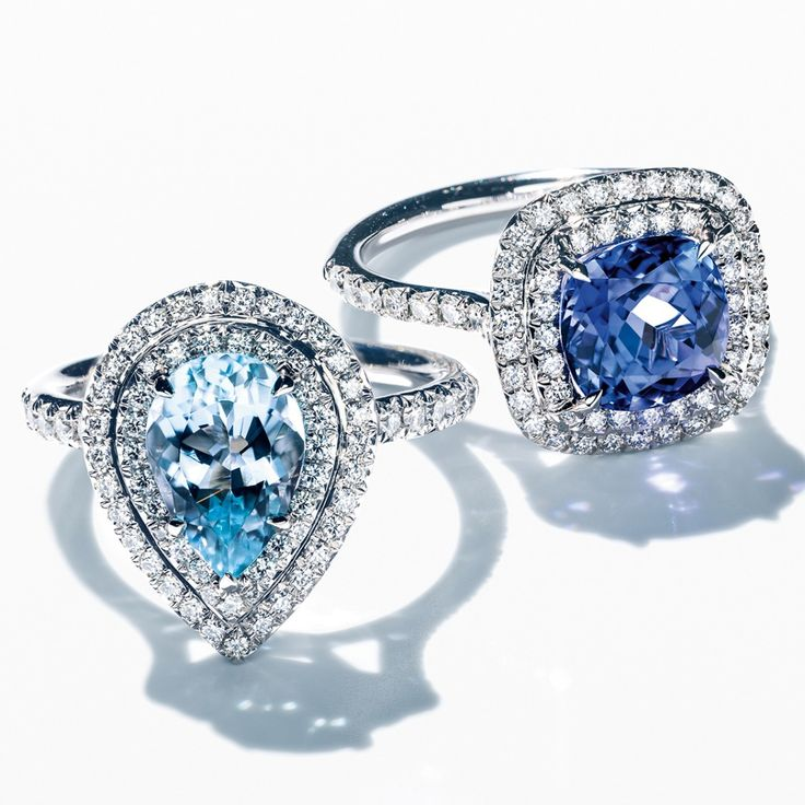 Cure the blues with a dazzling Tiffany Soleste® ring in platinum with an aquamarine or a tanzanite and diamonds.