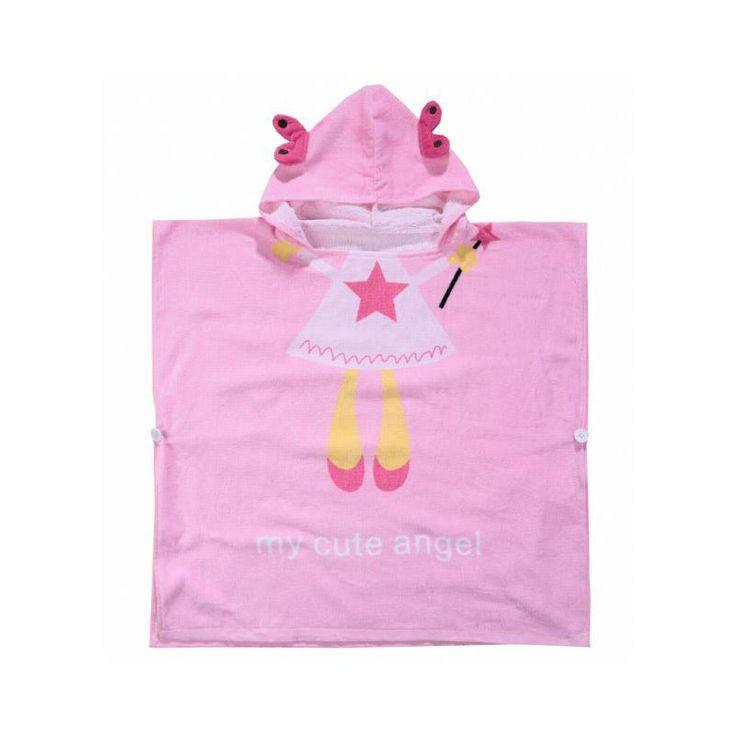 Children's Cartoon Style Hooded Swimming Towels 100% Cotton Bathrobe Baby Bath Towel Pink Angel Lovely Girl Beach Towel Poncho