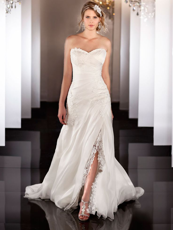 Silk organza a line lace apliques ruched wedding dress for Pinterest wedding dress lace