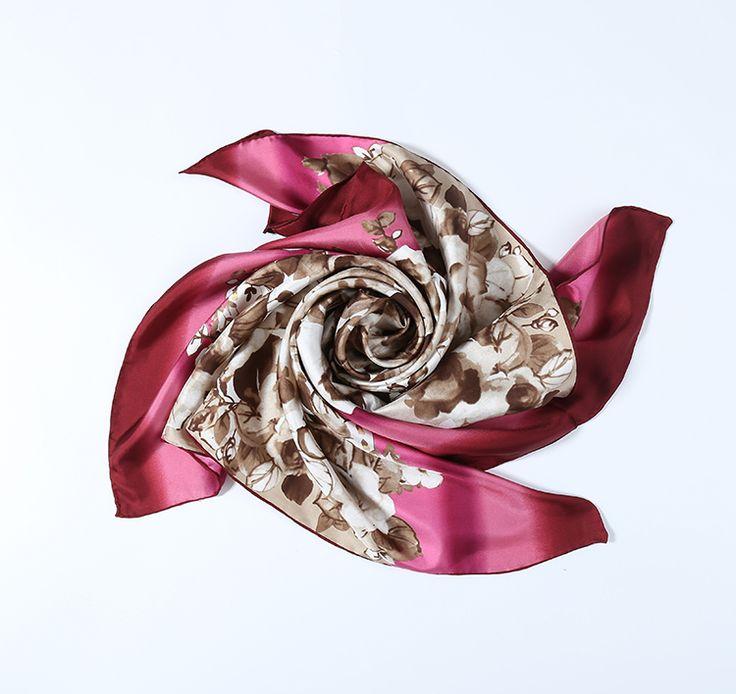 Large Square Silk Twill Scarf Maroon Theme Flower Print XWC684