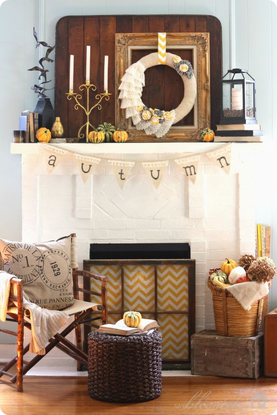Collected Fall Mantel | MyBlessedLife.net: Fall Decor, Mantel Decor, Fall Mantels, Fall Mantles, Mantels Ideas, Old Window, Fireplaces Screens, Autumn Mantels, Window Frames