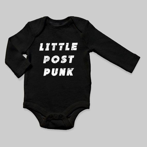 Little Post Punk Long Sleeve Baby Bodysuit / 80s Goth Cool