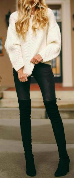 love the slouchy sweater and the over the knees boots www.escherpe.com