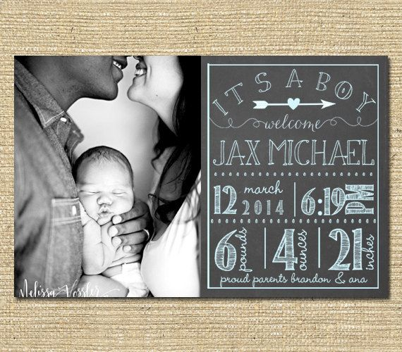 Baby Boy Birth Announcement - Custom Photo Birth Announcement - Printable File - Chalkboard Vintage Blue on Etsy, $10.00