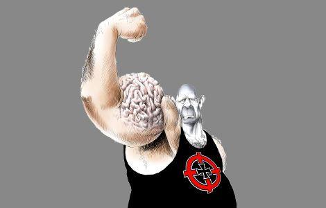 Ο ρατσιστής φοβάται. Φοβάται τον εαυτό του και φοβάται τι θα του συμβεί. Η χαμηλή του αναλυτική ικανότητα, τον κάνει να βλέπει άσπρο και μαύρο, τον κάνει να βλέπει ως μόνη λύση έναντι του...  Read more: http://rizopoulospost.com/posa-kena-kryvei-o-ratsisths-pisw-apo-ta-mpratsa/#ixzz2V9ujlNbD Follow us: @Rizopoulos Post on Twitter | RizopoulosPost on Facebook #Society #Racism #greece