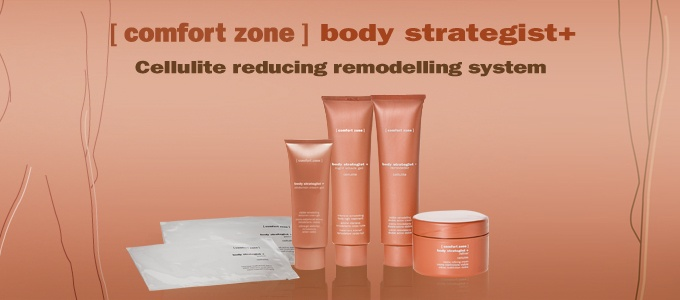 """Body Strategist is the exclusive cosmetic line by [Comfort Zone] that thanks to the synergy of derivatives of vegetable and marine origin and innovative technologies for the release of active principles, minimizes the """"orange peel"""" aspect  right from the first applications and the adipose accumulations are reduced. The body is remodelled, the skin is more toned , smooth and compact."""