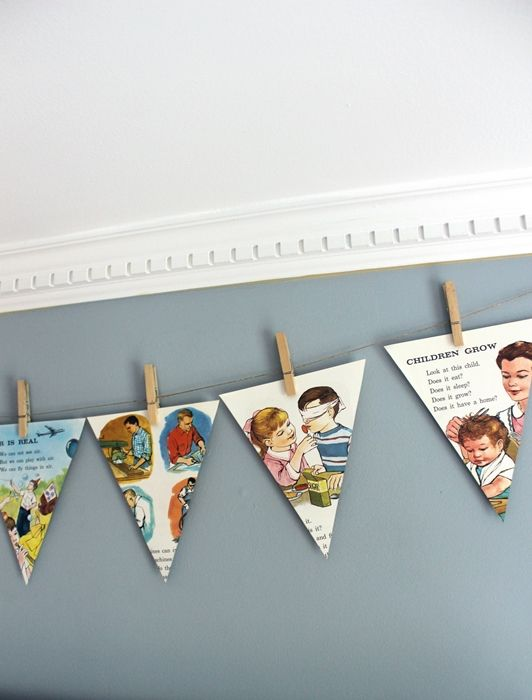 simple banner made from pages from an old childrens science book