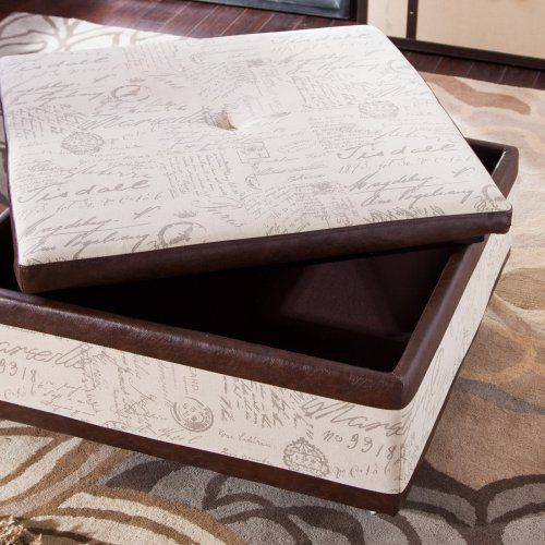 Armen Living Corbett Leather and Linen Coffee Table Storage Ottoman - Coffee Tables at Hayneedle  for living room $296