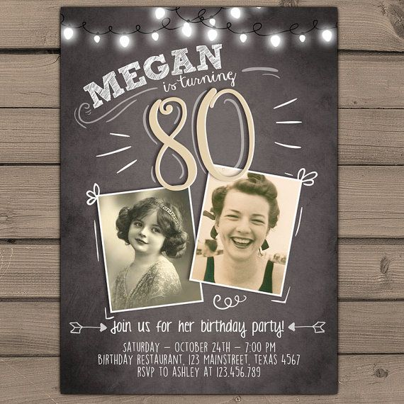 80th birthday invitation Vintage birthday door Anietillustration