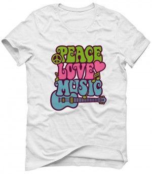 LOVE PEACE MUSIC Koszulka Tshirt Bluza Męska Damska Dziecięca