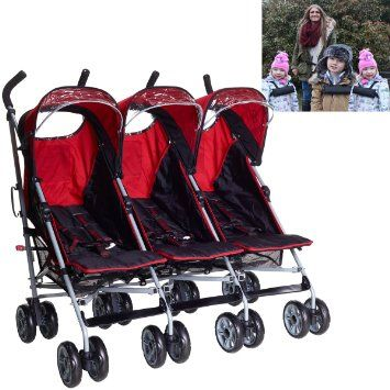Triple pushchair Triplet buggies Child Baby Newborn buggy stroller 3 kids children from birth seats independently operated 3 toddlers or 3 babies INCLUDES TRIPLE REINS HARNESS WITH WAIST STRAP by Kidz Kargo. Berry