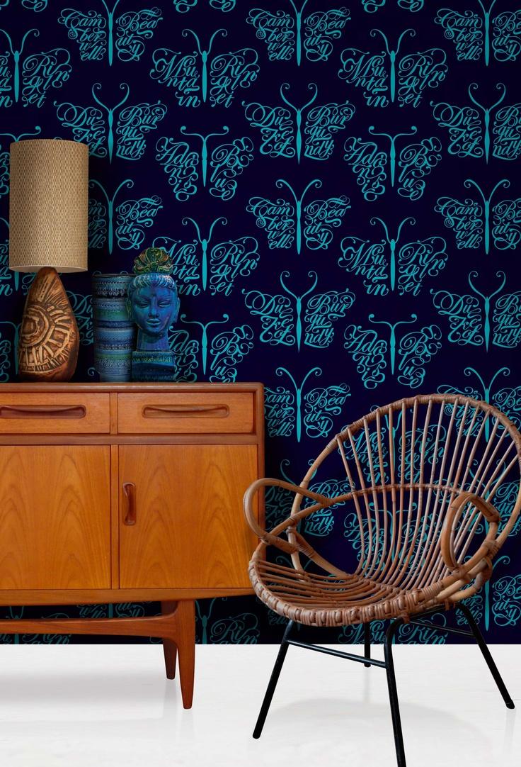 Modern interior wallpaper swatch - Mini Moderns Camberwell Beauty Wallpaper In Midnight Colourway From 2012 13 Buddha