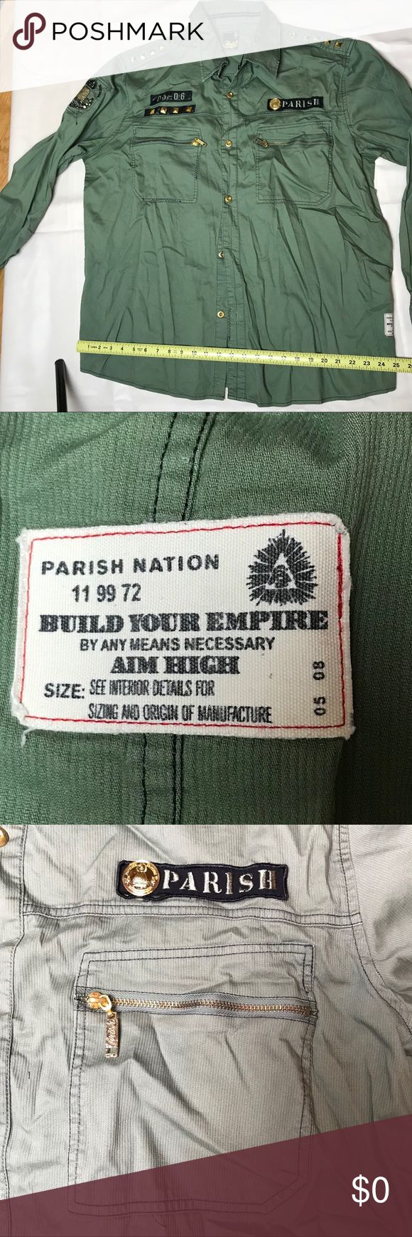 Parish Nation 4XL military style shirt AIM HIGH NWT   Lots of embellishment, embroidery, metal studs. Etc   Super nice shirt   Was purchased at least 8 years ago and has been packed away Parish Nation Shirts