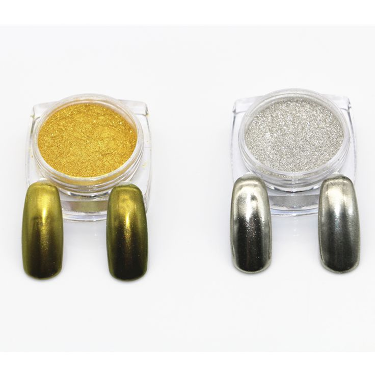 2 Box Mirror Powder Metallic Silver Pigment Nail Glitter Nail Art Chrome(Silver+Gold) Magic Look Gradient Nails
