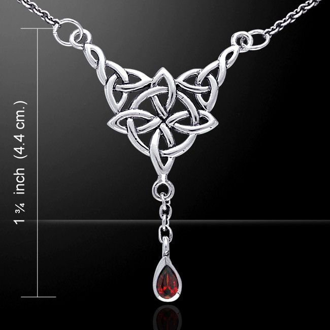 Celtic Witches Knot Necklace in .925 Sterling Silver with Garnet Gem - Celtic Spirit