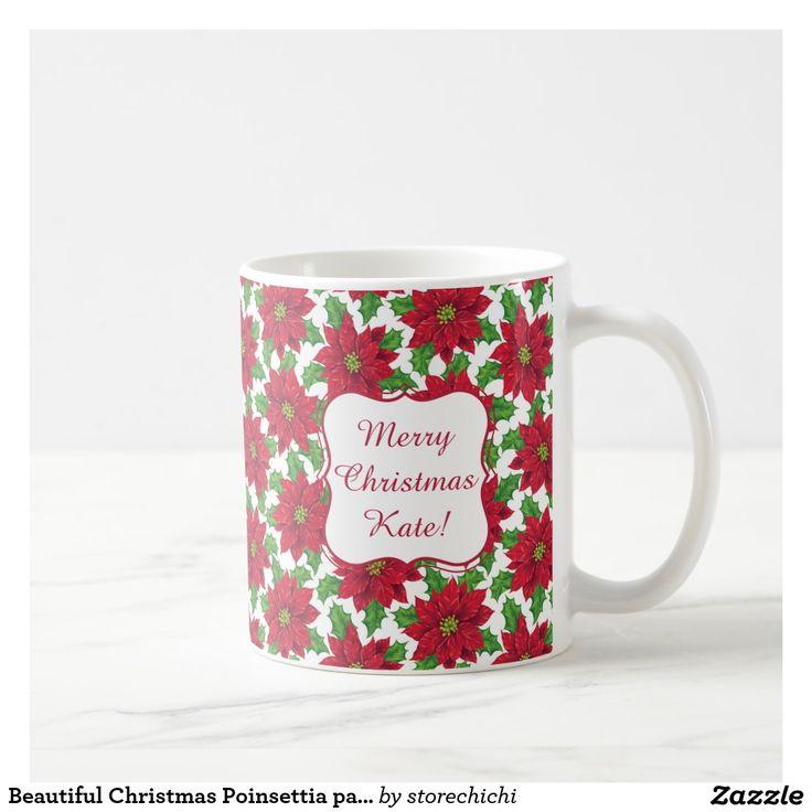 Beautiful Christmas Poinsettia pattern on white
