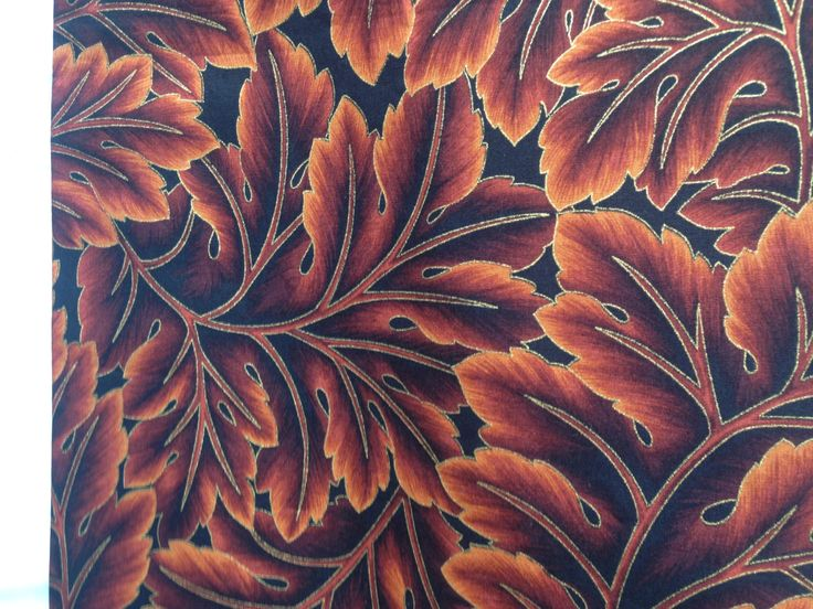 BB014. Kona Bay Fabrics, GARD-01,  brown leaves on a black background. by TheQuiltedCheese on Etsy