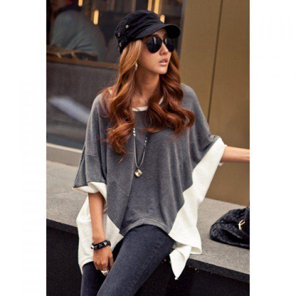 $12.30 Fashion Style Color Block Splice Irregular Hem Loose Fit Women's Blouse
