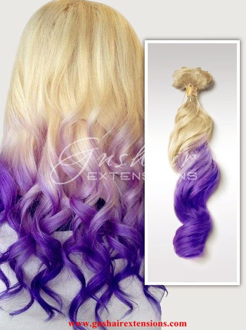 pastel clip in hair extensions ombre hairblond purple
