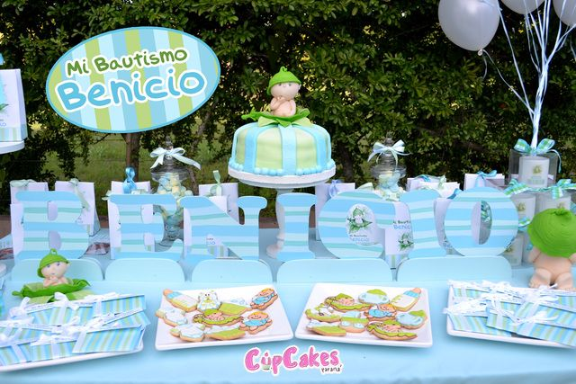 Sweet pea baptism party ideas baby boy baptisms and green baby showers - Baptism decorations ideas for boy ...