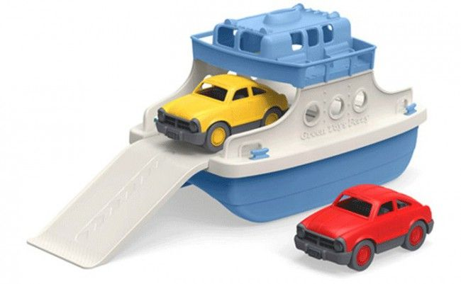 Green Toys Ferry Boat with Two Mini Cars - gift for boys